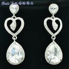 New Dangle Earrings Bridesmaid Wedding Earrings For Women Jewelry Clear Zircon Rhinestone Crystal Teardrop Heart Earring 20653