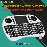 Free Shipping Wireless Mini Keyboard Russian English Hebrew 2 4G Qwerty Keyboard Air Mouse For PC