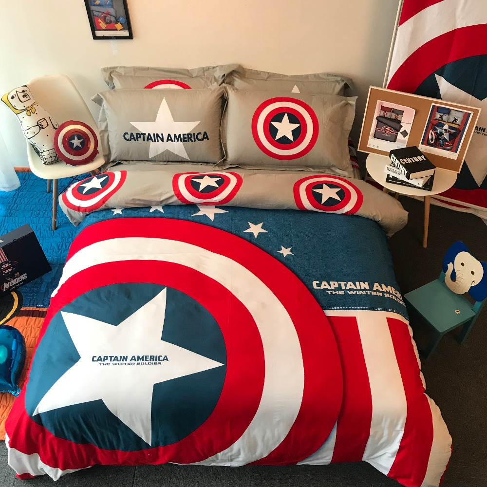 US $69.99 30% OFF|Boys bed set spider man pillowcase disney mavel home  textile queen size kids bedroom decor 4pc bed linen egyptian cotton  bedding-in ...