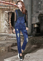Top fashion 2016 summer korean vintage overalls bodycon pencil sheath woman denim pants bleached ripped slim women jeans D146