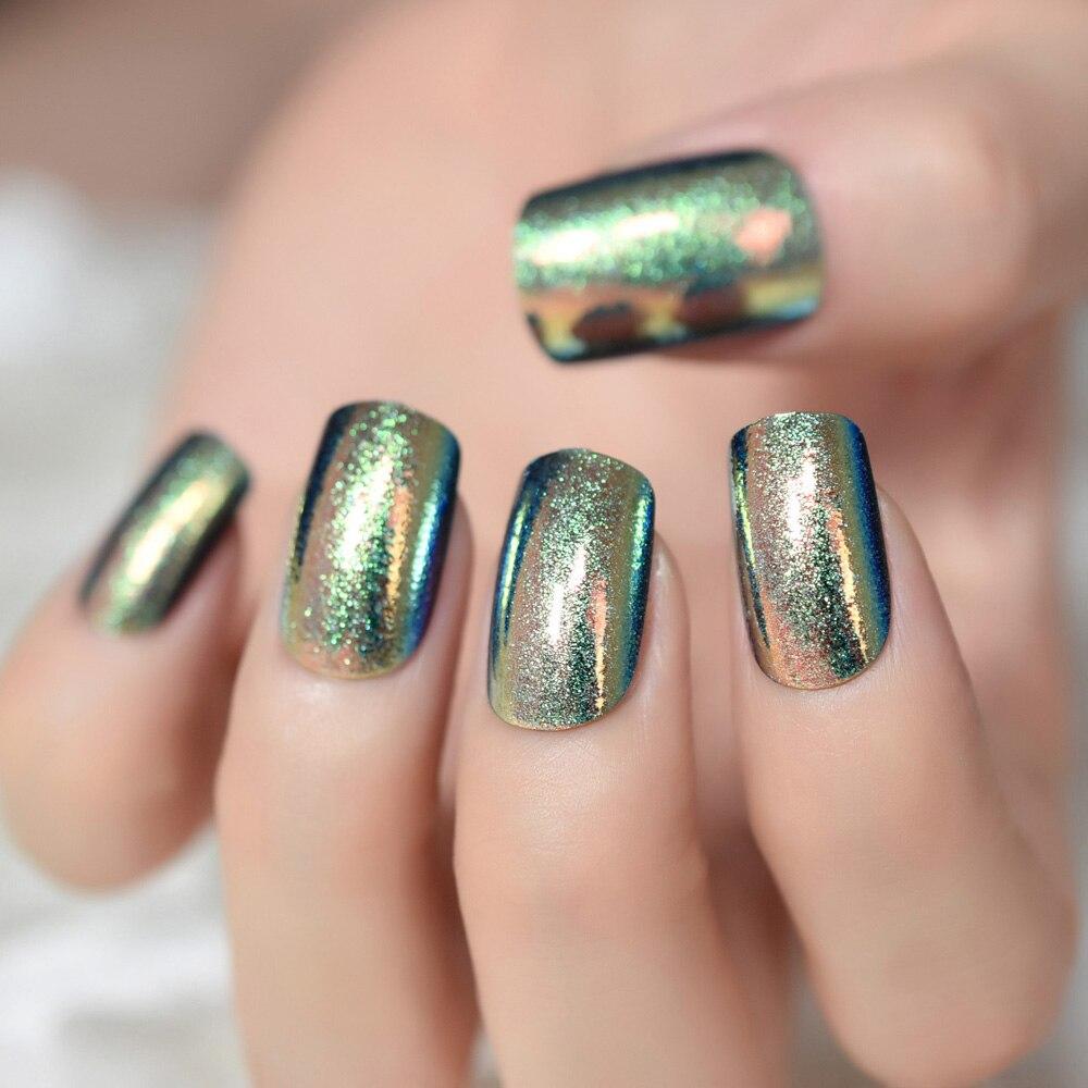Deep Iridescent Chrome Fake Nails Medium Square Acrylic Nail Kit Glitter Pattern Decoration DIY Tips-in False Nails from Beauty & Health on ...