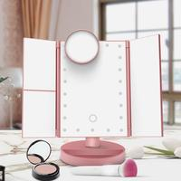 Hot Sell Make Up Mirror 10X 22 LED Light Table Desktop Touch Screen Mirror 1X/2X/3X/10X Adjustable USB 4 Battery Mirror