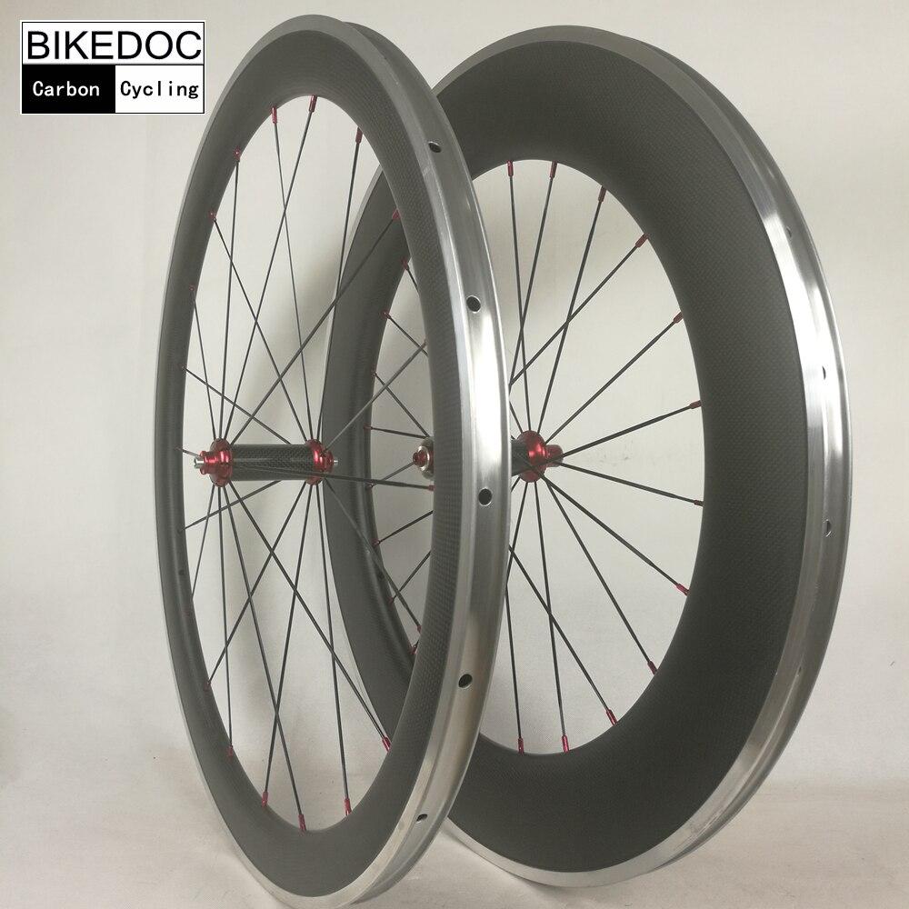 BIKEDOC Carbon Wheels Alloy Brake Surface 700c 90mm/60mm/38mm /50mm Carbon Aluminium Wheels For Bicycle Wheels цена