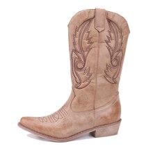 52b719c040 Yu Kube clásico bordado Rodeo vaquero botas para mujeres de cuero vaquera  botas de tacón bajo