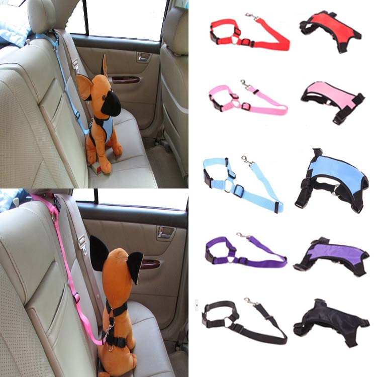 Puppy Dog Cat Car Safety Seat Belts Dog Head Collars Leads Gift Teddy Dog Pet Dog Vest Harness 5 Colors Available