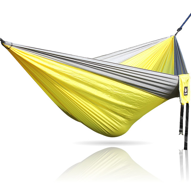 Gray Yellow Gray Nylon Hammock 300*200cm Outdoor Furniture Big Size Double  Two Person Hammocks