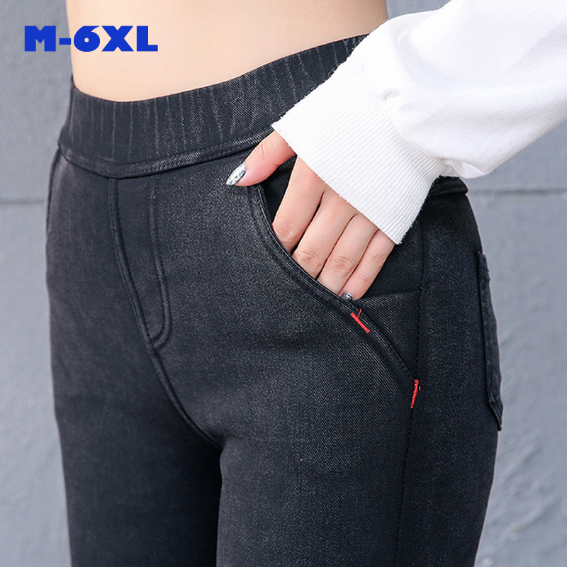 2018 Winter 5XL6XL   Leggings   ladeis High Waist thick warm Jeans Women Casual Denim Skinny Pencil Pants slim female trousers