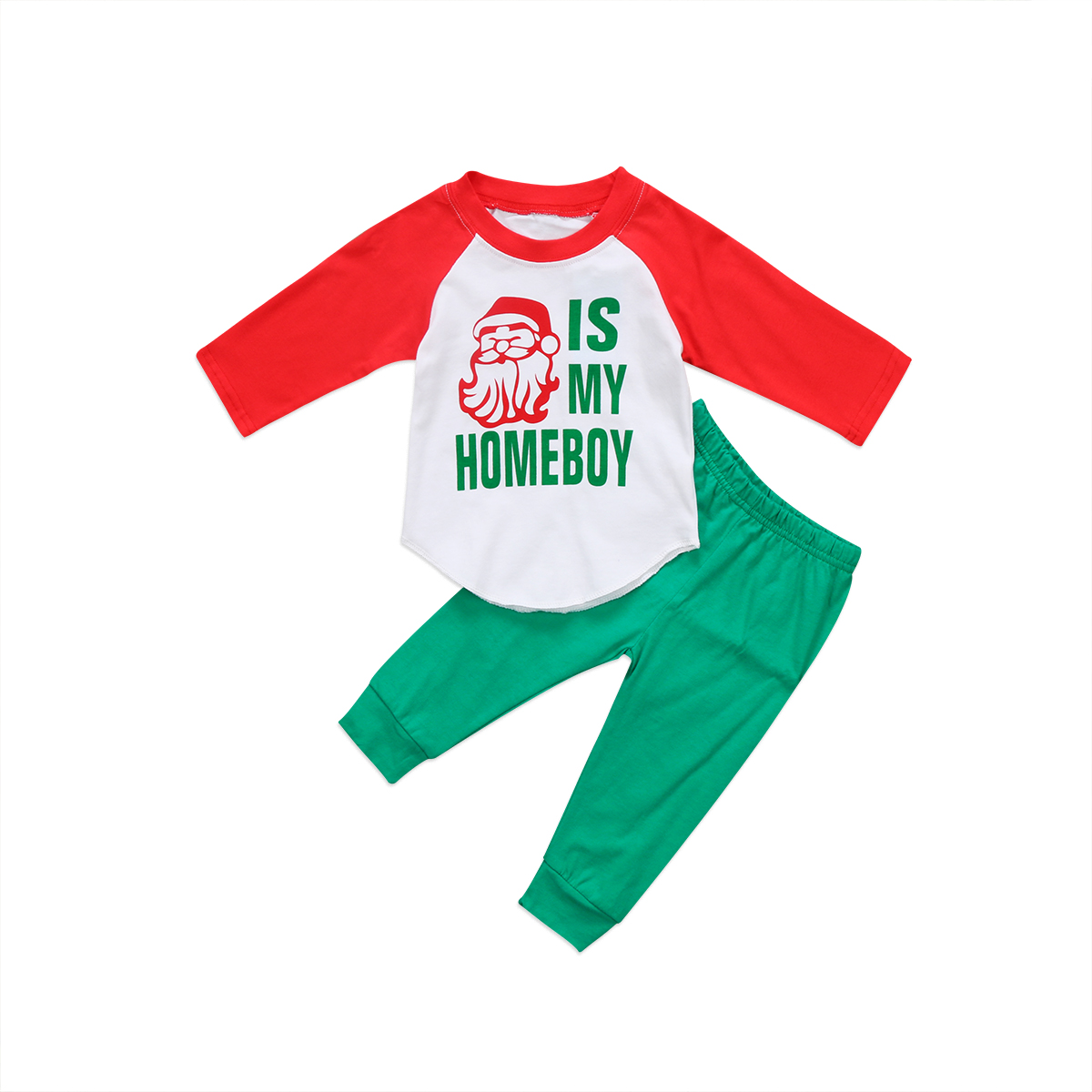 2Pcs Casual Santa Tops T-shirt Pants Outfits Set Toddler Kids Boys Christmas Clothes 1-6Y
