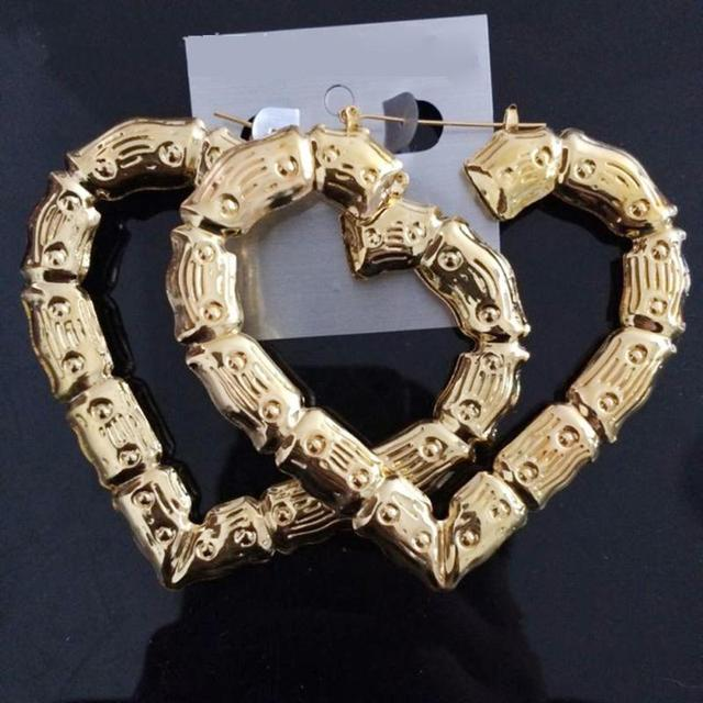 New Hot Gold Color Large Bamboo Joint Hoop Earrings