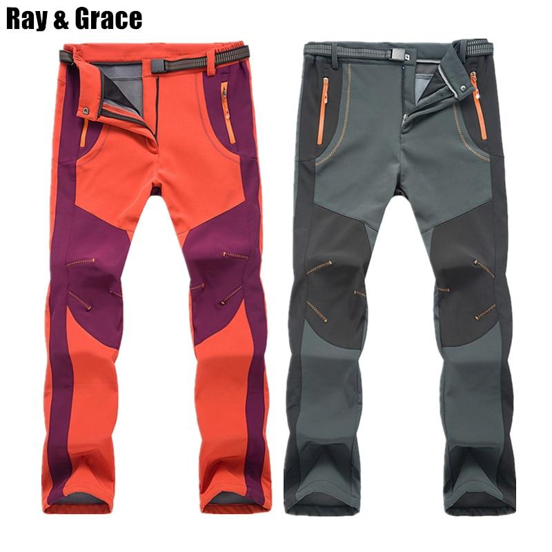 RAY GRACE Hiking Pants Men Softshell Winter Outdoor Waterproof Trekking Camping Trousers Fleece Warm Windproof Ski Sports Pants|Hiking Pants| |  - title=