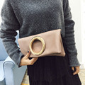 Ulrica 2017 New Arrival Women Metal Ring Envelope Bag Folding Clutch Shoulder Messenger Bag luxury handbags women bags designer