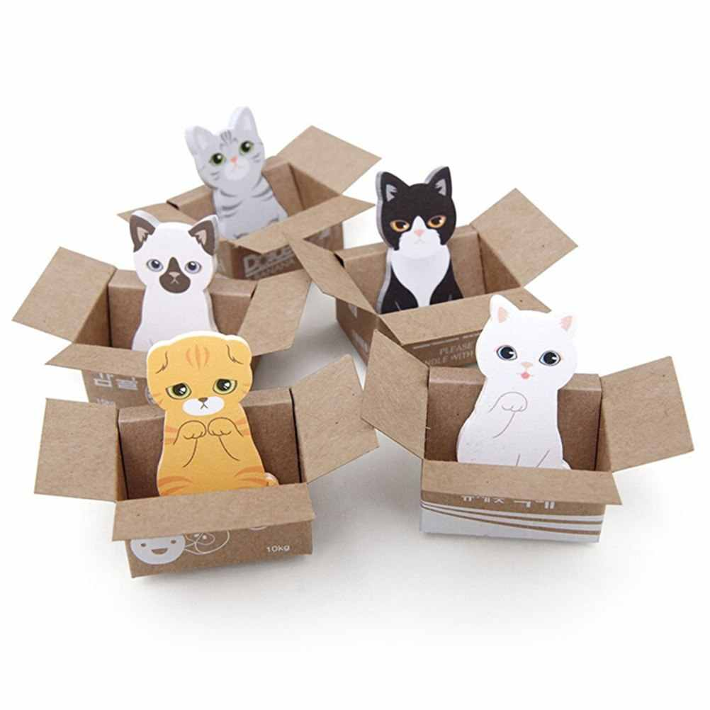 Koreańskie piśmiennicze śliczne 3D Cartoon kartki samoprzylepne Kawaii Scrapbooking Cat Box naklejki biurowe szkolne notatnik