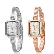 Lady Women's Bracelet Watch Stainless Steel Rhinestone Square Dial Quartz Watch