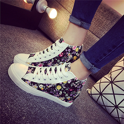 2015 New fashion small floral increased crafted women canvas shoes nice  beautiful color lace-up white black blue b8dadf3ed