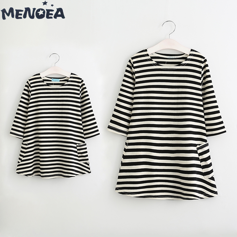 Menoea Household Matching Outfits New Cute Types Autumn Mom And Daughter Informal Fall Lengthy Sleeve Black And White Striped Gown