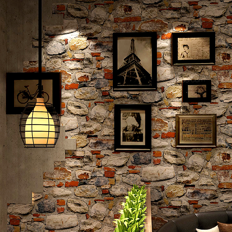 Vintage Wallpaper 3D Embossed Brick Stone Wall Paper For Walls Restaurant Cafe Kitchen Background Wall Covering Creative Decor