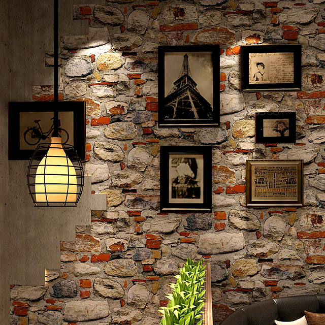 Vintage Wallpaper 3D Embossed Brick Stone Wall Paper For Walls Restaurant  Cafe Kitchen Background Wall Covering