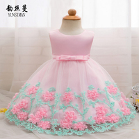 Baby Dress for Newborn 3 6 9 12 18 24 Months Baby Girl Clothes Dresses Flower Bow 1 Year Birthday Dress Vestido Infantil 2M06