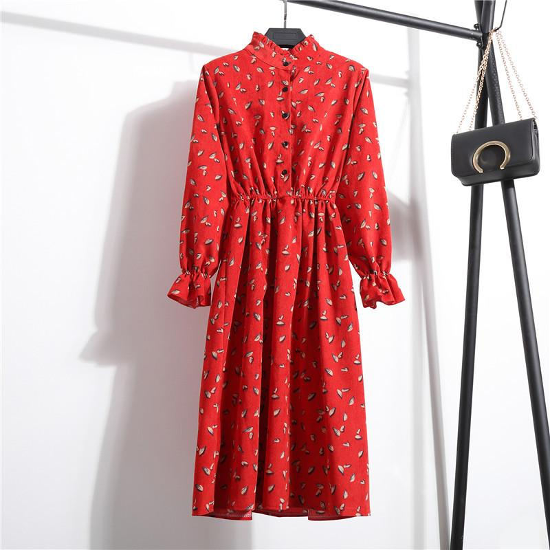 Autumn Winter Corduroy Dress Vintage Sweet Floral Round Stand Collar Mid-Calf Dresses Long Sleeve Vestido S-XL Size