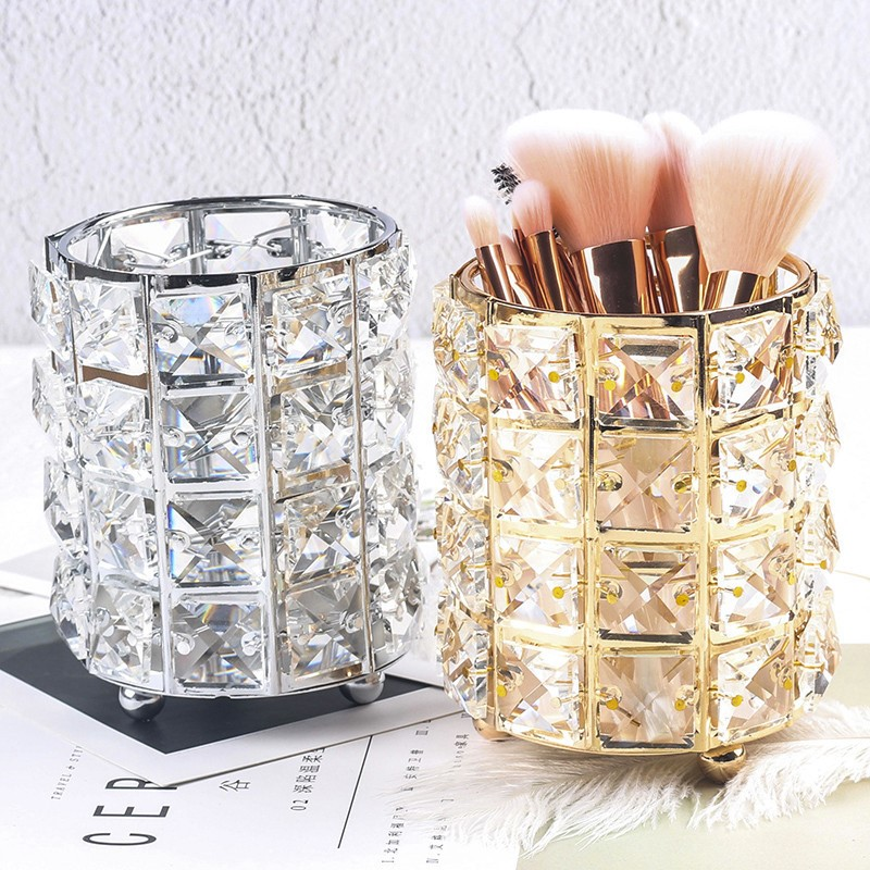 1PC Multi-Purpose Crystal Storage Holder Cosmetic Brush Makeup <font><b>Organizers</b></font> Pencil Bucket Pen Storage Rack Container image