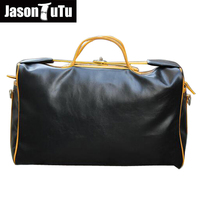 Fashion mens leather travel bag vintage duffle handbags men business luggage bag with shoulder strap sac voyages hommes B136