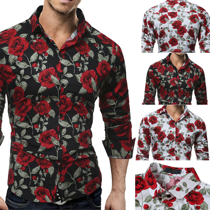Rose Flower Printed Shirts Men's Shirt Luxury Long Sleeve Tops Tee Slim Fit Casual USA