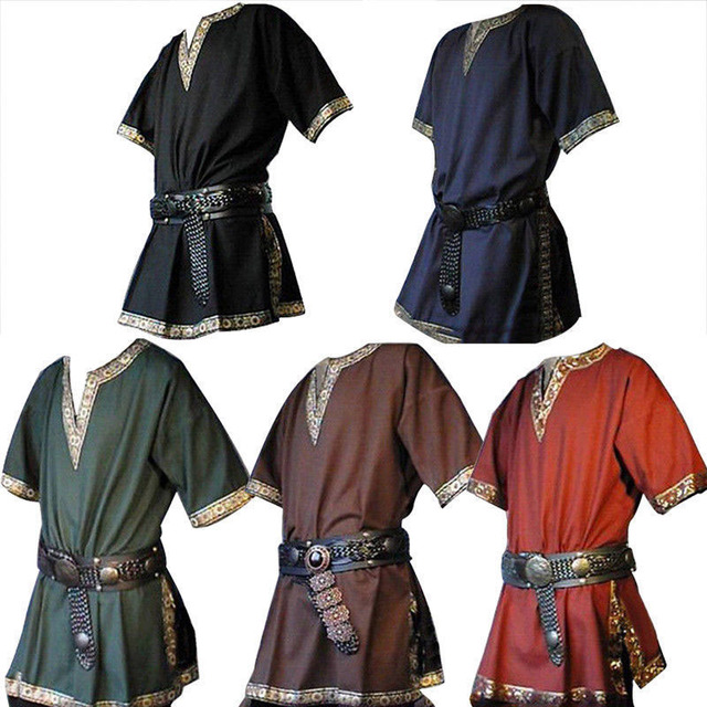 45d3c8d5640 5 Colors Adult Men Medieval Renaissance Viking Warrior Knight Costume Tunic  Top Shirt Army Pirate Cos Clothing For Men Plus Size on Aliexpress.com
