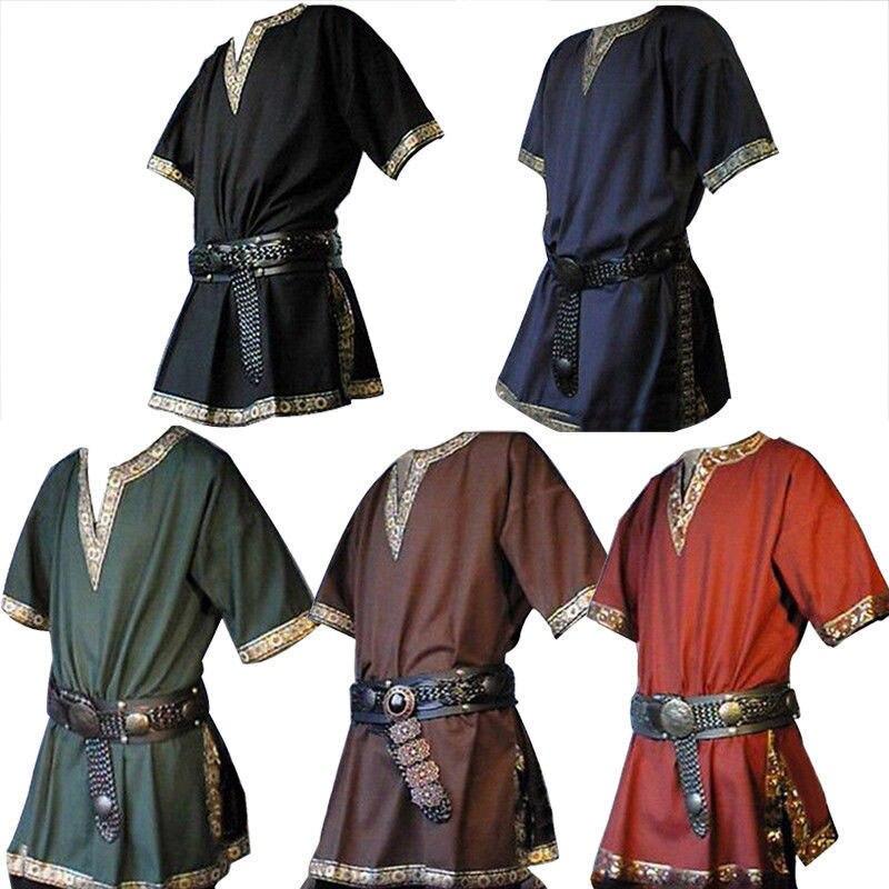 5 colores de los hombres adultos Medieval renacimiento guerrero vikingo Caballero traje Top camisa ejército pirata porque ropa para hombres tamaño