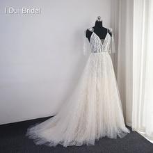 فستان زفاف من الدانتيل اللامع بالترتر مع شريط ربطة عنق بوهيمية فستان زفاف صور حقيقية من المصنع