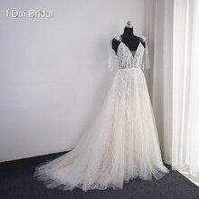 Pullu parlak dantel düğün elbisesi ile papyon kayışı Boho gelin kıyafeti fabrika gerçek fotoğraf