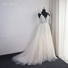 Sequin Shinny Lace Wedding Dress with Bow Tie Strap Boho Bridal Gown Factory Real Photo