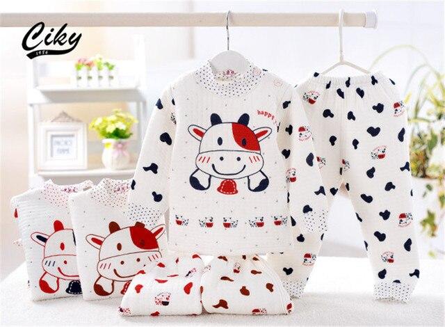 (2pcs/set)Newborn Baby  Boy Girl warm Clothes set 100%Cotton Cartoon cow winter Underwear baby set
