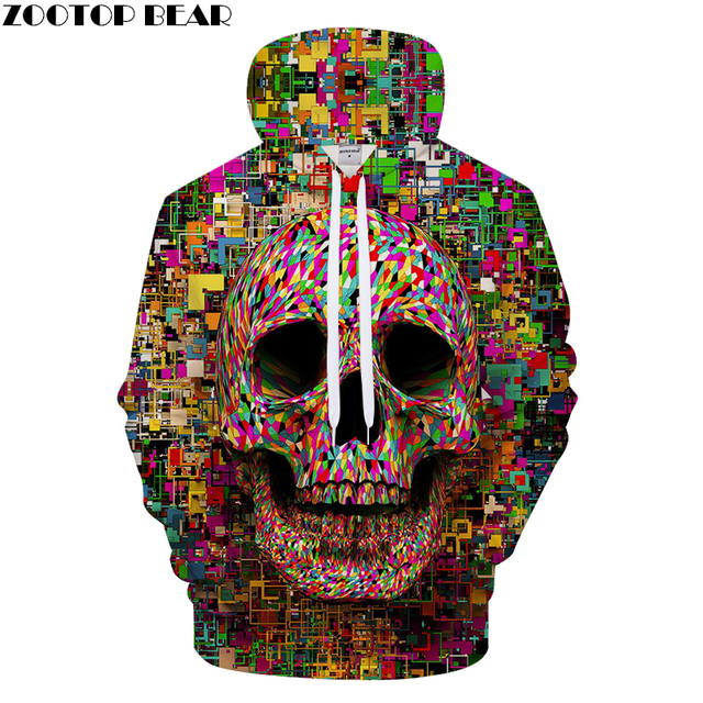 Pixel skull Hoodies 3D Hoodie Men Women Hoody Harajuku Sweatshirt Streatwear Band Tracksuit Pullover Coat Hooded Collection Drop