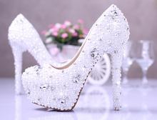 2016 Best Rhinestone Wedding  Shoes Gorgeous Bridal Shoes  Round Toe White Elegant Shoes High Heel Dress Shoes  Size34 to 39