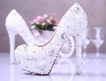 2018 Best Rhinestone Wedding Shoes Gorgeous Bridal Shoes Round Toe White Elegant Shoes High Heel Dress Shoes Size34 to 39