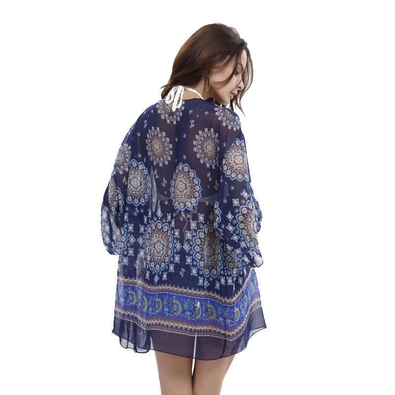 Oltre a misure donna clothing 2017 donne boho kimono cardigan estate camicetta floreale stampato 3/4 sleeve casual vintage blusas camicia top