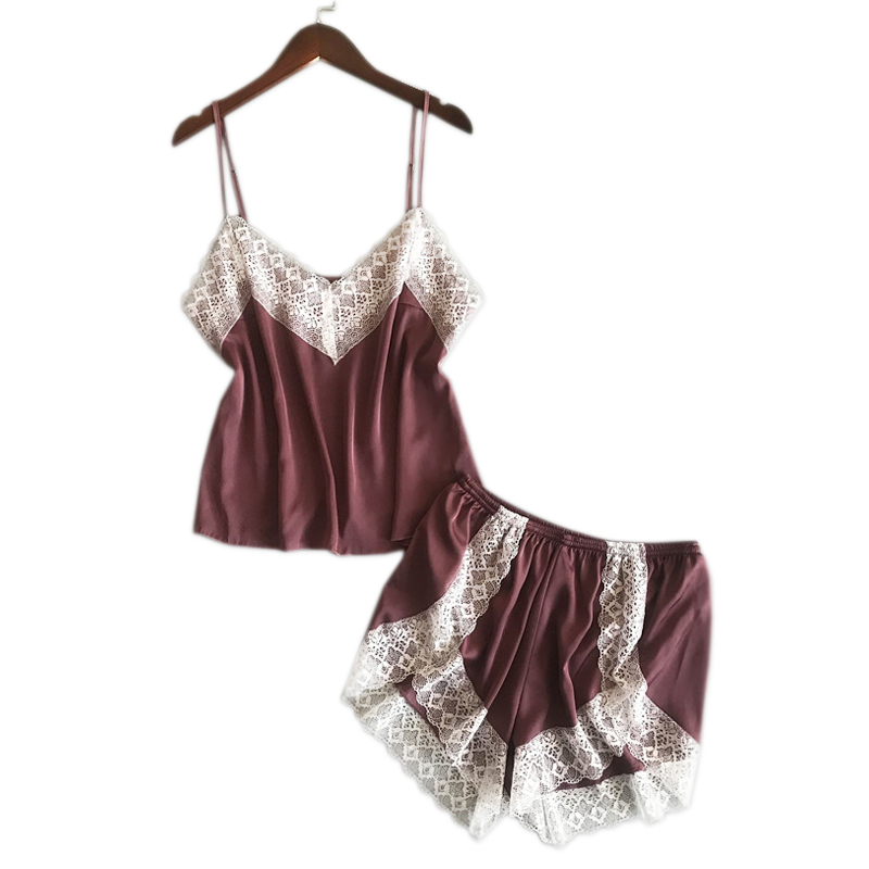 Sexy lace Satin ice silk short women   pajama     sets   summer spaghetti strap Korea Shorts Sleepwear women pyjamas mujer home clothes
