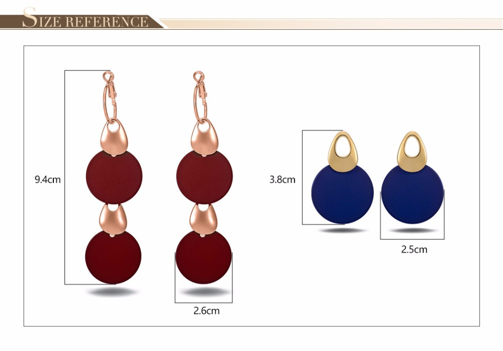 Viennois Fashion Jewelry Blue & Red Dangle Earrings for Woman Rose Gold Color Earrings Trendy Long Round Earrings 10