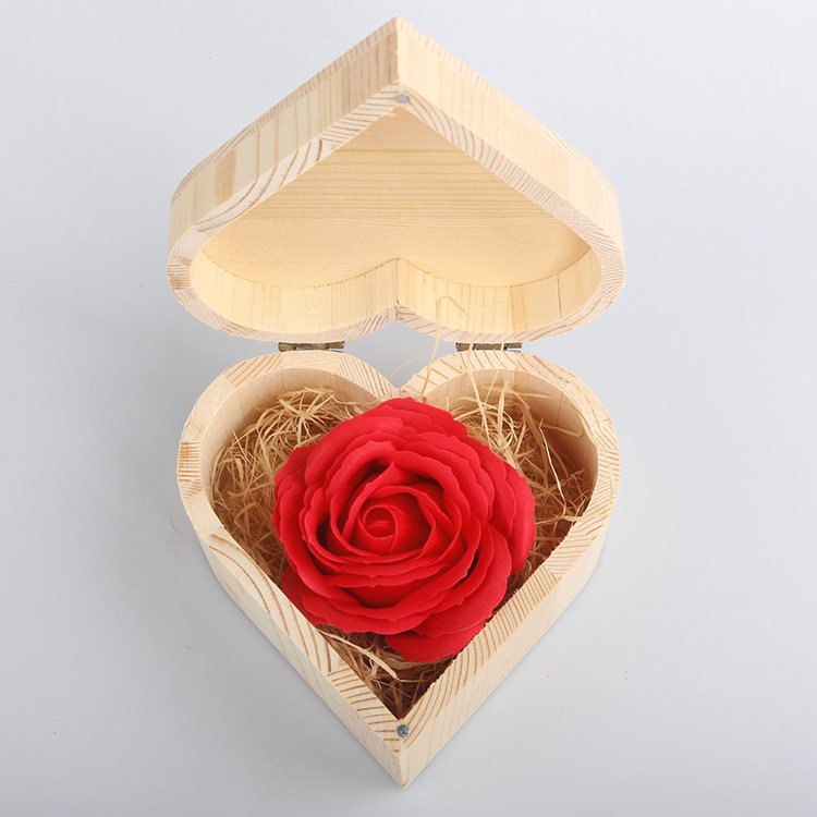 unique red rose hot sale soap rose flowers happy new year gifts mothers day best souvenirs in wooden box for bath room decor in artificial dried flowers