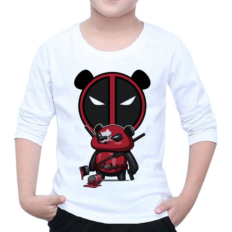 Clever New Deadpool Panda T Shirt Kid Fashion Deadpool Funny Superhero Design Movie Venom Girlt-shirt Tops Boy Baby Tshirt Z42-16