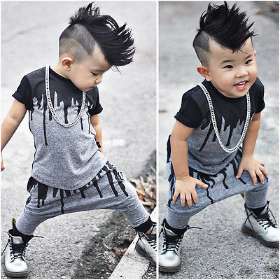 57d7b420574b 2pcs Newborn Toddler Infant Kids Baby Boy Clothes T shirt Tops Pants ...