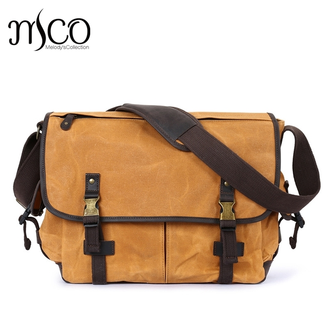 b3f33e474cfc Melodycollection Men Vintage Waxed Canvas Holdall messenger bag man travel  bags school bag Hasp military Waterproof Courier Bag on Aliexpress.com