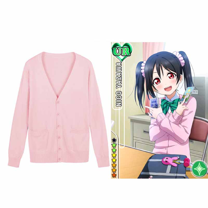 Love Live Cosplay Costume,Japanese Anime Lovelive Nico Yazawa Sweater Japan School Uniform Niko Cardigan Sweaters Free Shipping