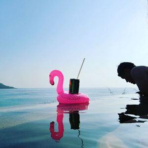 Flotador inflable para piscina, Mini flamenco, unicornio, Cisne, juguetes flotantes para beber, portavasos, anillo de natación, juguetes de fiesta, playa, niños y adultos