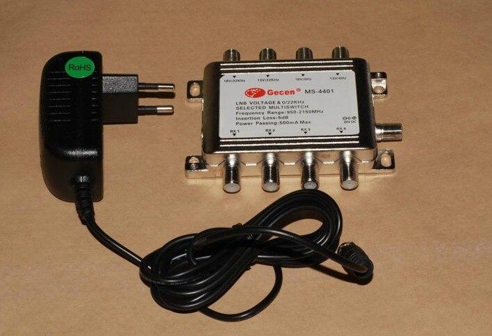 Бесплатная доставка DiSEqC 4 в 4 LNB напряжения и 0/22 кГц выбран мультисвич MS-4401 переключения Спутниковое LNB коммутатор