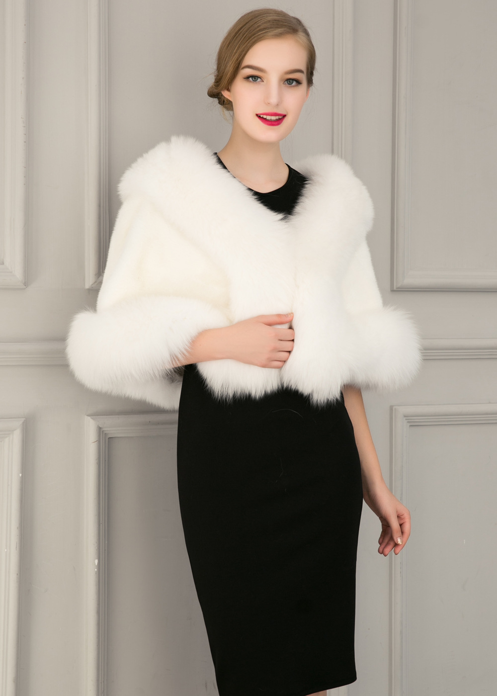 Europe and America autumn and winter new imitation fur bride dress bridesmaid fur shawl cape coat (11)