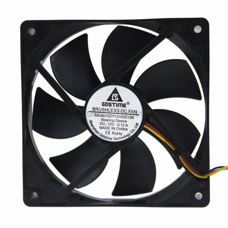 2 Peças Gdstime 12 V 3Pin Refrigerador 120*25mm 12025 120mm PC Case Sistema de Refrigeração Controlador de Velocidade fã