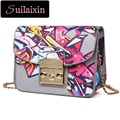Women Designer Small Graffiti Bags Famous Brand Ladies Floral Printing Shoulder Bags Chain Bag Personality High Quality Bolas