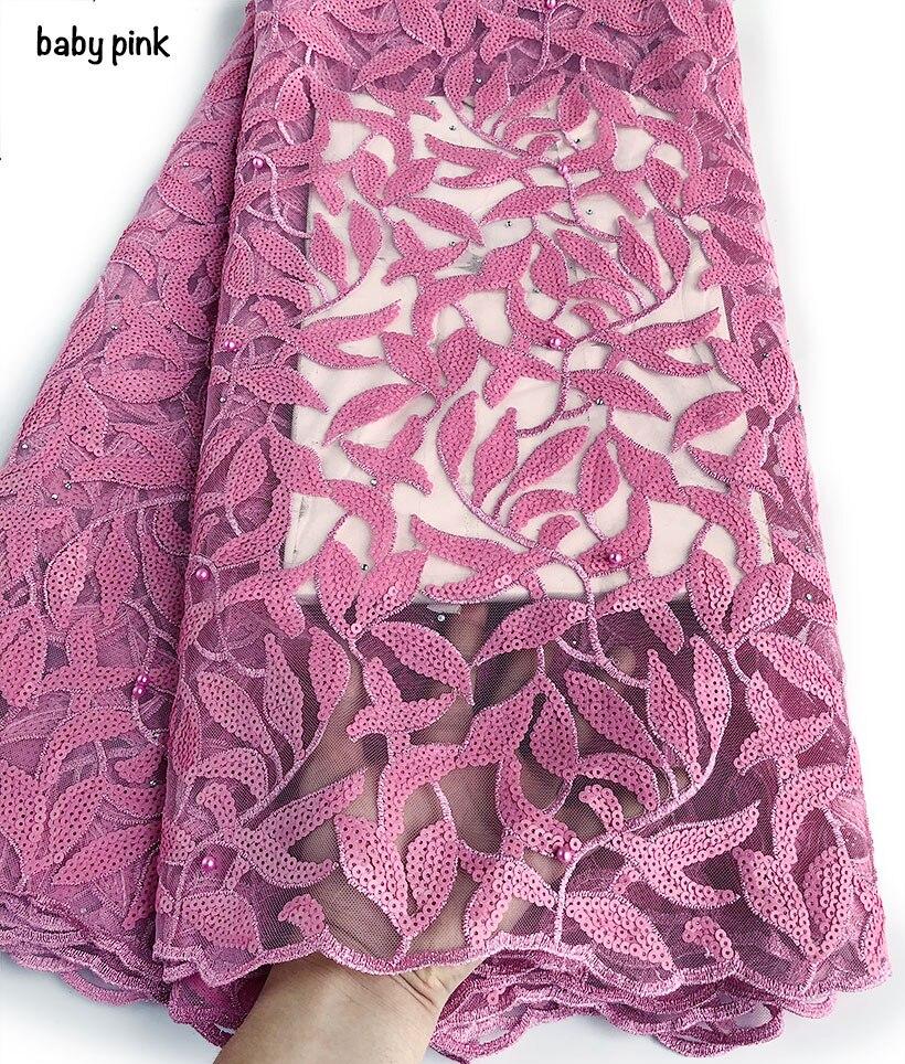 5 metrów dla dzieci różowy ślub francuski koronki bardzo schludny błyszczące cekiny haft afryki tiul koronki tkaniny nigerii uroczystości tkaniny w Koronka od Dom i ogród na  Grupa 1