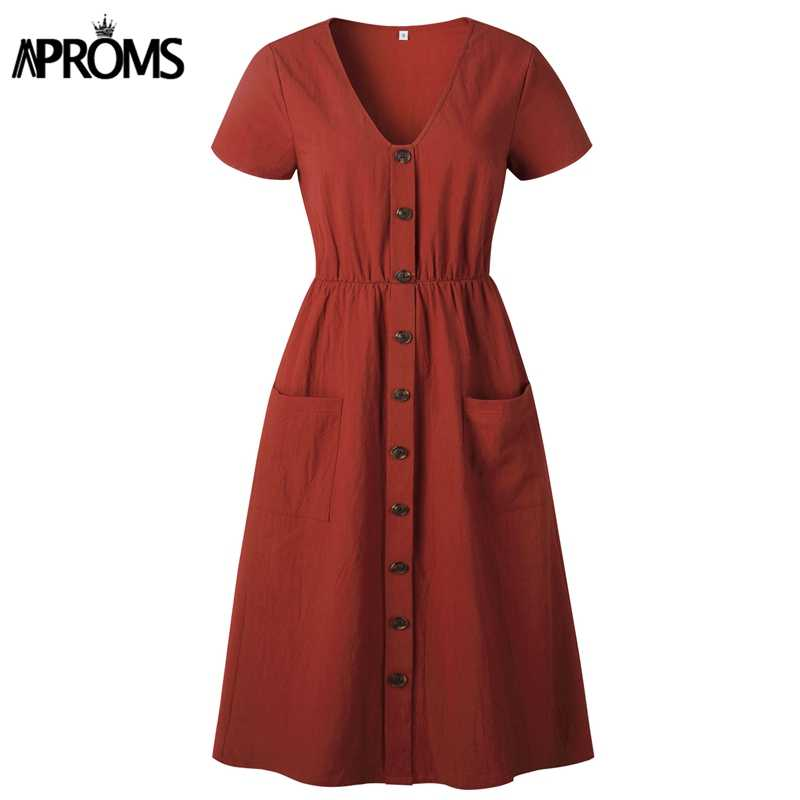 Aproms สีทึบสูงเอวฤดูร้อนผู้หญิงสบายๆ V คอปุ่มเข่า-ความยาว Vestidos หญิงกระเป๋า Sundresses